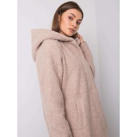 Beżowy płaszcz bouclé