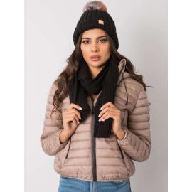 RUE PARIS Czarny komplet zimowy czapka i szalik