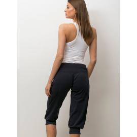 Damskie spodnie capri z troczkami grafitowe