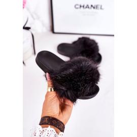 Children's Slippers With Fur Black Fashionista