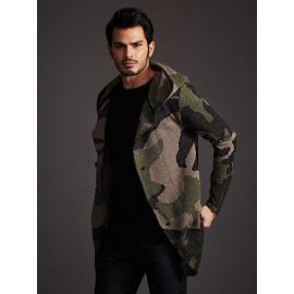 Sweter męski moro z asymetrycznymi guzikami khaki