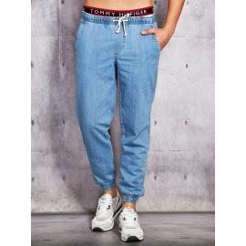 Jeansy męskie z troczkami i ściągaczami niebieskie