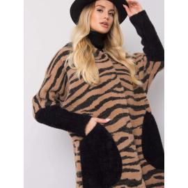 Beżowo-czarny płaszcz alpaka w animal print