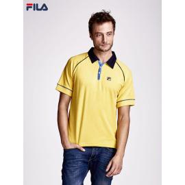 FILA Żółta koszulka polo męska z ciemnymi przeszyciami