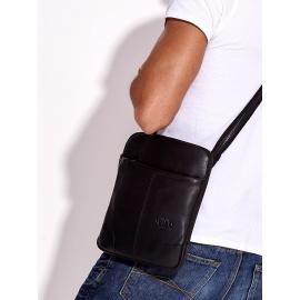 Czarna torba męska skórzana z regulowanym paskiem