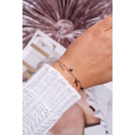 Women's Bracelet Celebrity Pink Gold Three Cross