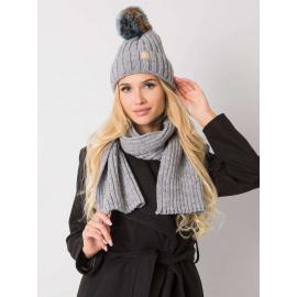 RUE PARIS Szary komplet zimowy czapka i szalik