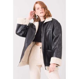 Černý dámský kabát z ovčí kůže BSL