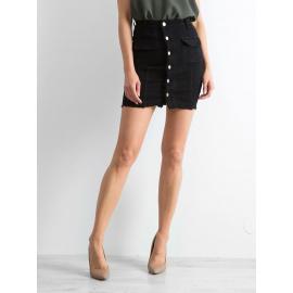 Czarna jeansowa spódnica z guzikami