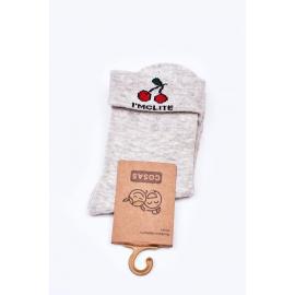 Children's Cotton Socks With Cherries COSAS Grey