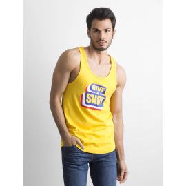 Bawełniana koszulka męska bez rękawów żółta
