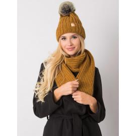 RUE PARIS Ciemnożółty komplet zimowy czapka i szalik