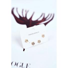 Women's Earrings Shamrock With Zircons Gold 2 pairs La Prima