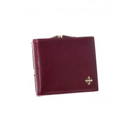 Bordowy mały portfel elegancki z zapięciem na bigiel