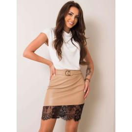 Béžová asymetrická sukně z ekokože