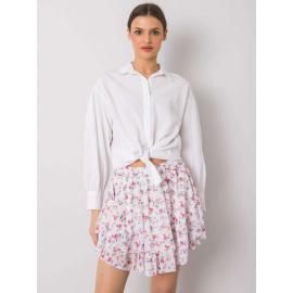 Biała spódnica w kwiaty z falbaną