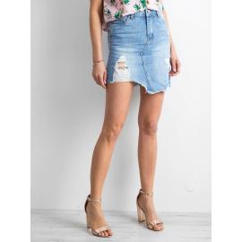 Asymetrická modrá riflová sukně