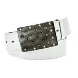 Men's white leather belt HX0004