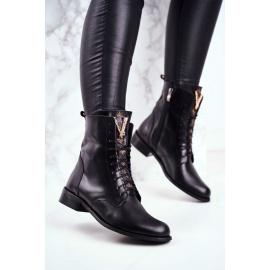 Women's Leather Boots Black Nicole 2593