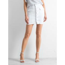 Biała jeansowa spódnica z guzikami