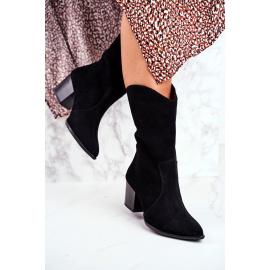 Women's Boots On High Heel Nubuck Leather Light Black Nicole 2580